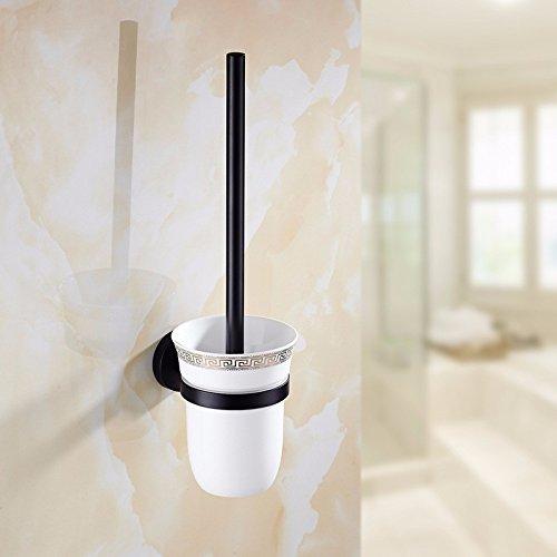 HYP Continental black hotel toilet brush simple bathroom brush stainless steel antique toilet brush holder set