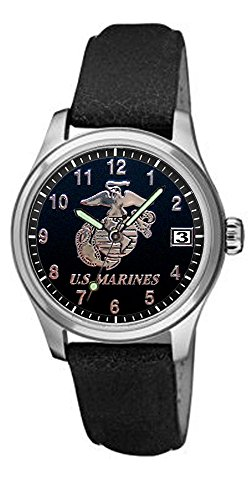 UPC 857973000106, Aqua Force Marines Frontier Watch with 40mm Black Face and Leather Strap