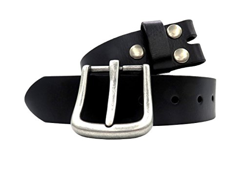 Men's Genuine Leather Belt 38mm(1-1/2'') Cowhide Strap Snap on Belt Full Grain Vintage Finish with Removable Buckle Waist Belts for Jeans - Black by MASAYIN