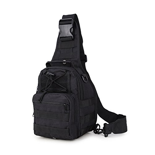 Lanlan Tactical Rucksack Freizeit Outdoor Schultertasche Camouflage Oxford Military leichter Wandern Reisen Wasserdicht Crossbody Taschen Brust Tasche für Herren armee-grün