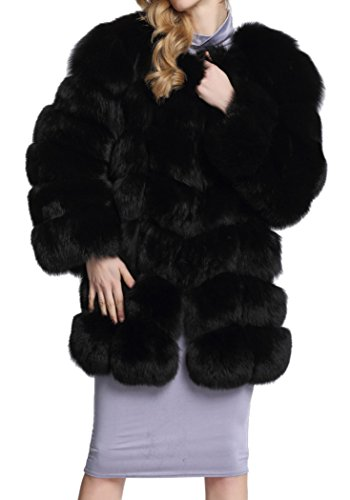 Women's Black Luxury Faux Fur Fox Warm Long Sleeve Solid Mid-Length Outwear Coat (Plus Size Go Go Gorgeous Costumes)