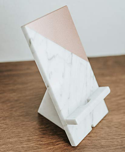 (Marble iPhone Holder Stand Office Desk Decor in Rose Gold Smartphone Tech Gift)