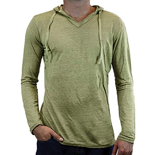 Yihaojia Men Blouse Mens Slim Fit Long Sleeve Hooded T-Shirt Casual Hipster Pullover Sweatshirt (XXXL, Green) ()