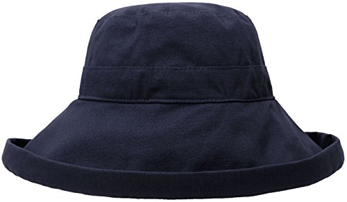 Simplicity Summer Solid Cotton Bucket Hat With Big Fold-Up Brim, Denim