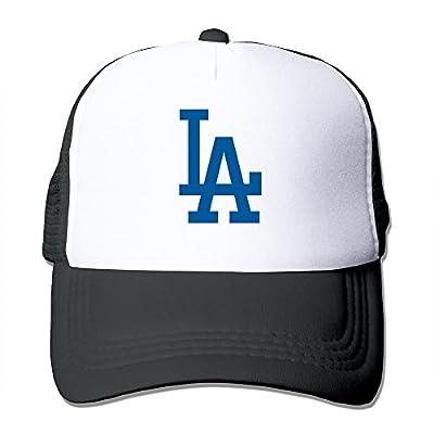 Matthe Geek Printed Pattern Los Angeles Dodgers Unisex Half Mesh Adjustable Baseball Cap Hat Snapback Black