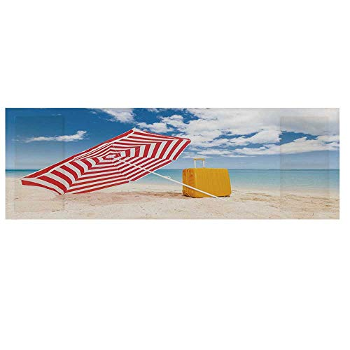 Yellow and Blue Cotton & Linen Microwave Oven Protective Cover,Windy Sandy Beach with Sunshade and Trolley Summer Holiday Relax Picture Cover for Kitchen,36