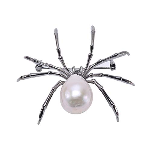 (JYX Pearl Animal Spider Brooch Baroque White Freshwater Cultured Pearl Brooches Pins for Women Jewelry Gift)