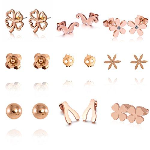 925 Sterling Silver Stud Earring Cat / Crown / Daisy with Pearl Crystal Charms Jewelry for Women (Joy Cat Kitty)