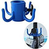 """AMMSUN Beach Umbrella Hanging Hook,4-prongs Plastic Umbrellas Hook Hanging for Towels/Camera/Sunglasses/Bags,Fit for Beach,Camping Trips Blue (Small Size fit 0.75"""" to 1.26"""" Pole)"""