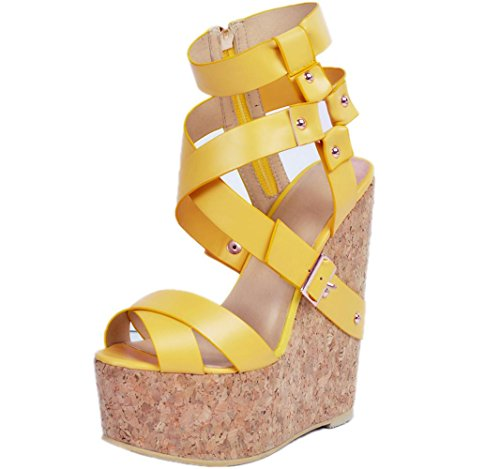 YCMDM Women's Sandals Stiletto Heel PU Pointed Toe Nightclub Party Evening Office Career Fashion Shoes , 37 , yellow