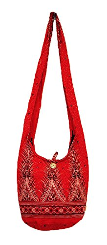 Handmade Bag M1078 Peacock Hippie Boho Sling Crossbody Shoulder Purse Cotton Zip Hobo Red Medium Messenger Tail Gypsy Thai wafx0qpXx