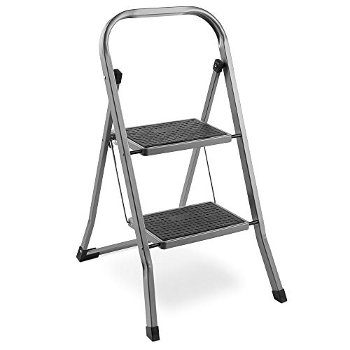 VonHaus Steel 2 Step Ladder Folding Portable Stool with 330lbs Capacity and Anti-Slip Feet - Lightweight and Sturdy - Grey