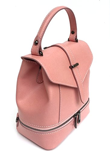 Superflybags Femme Sac à main / Sac à dos en cuir véritable Modèle Ligia Made In Italy Pink