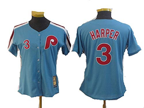 (No.3_Bryce_Harper_Philadelphia_Phillies_Light Blue Cool Base Cooperstown Player Jersey-Women's (Women M))