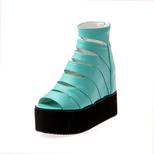 VogueZone009 Womens Open Peep Toe High Heel Platform Wedges PU Soft Material Solid Sandals with Zipper, Blue, 5 UK