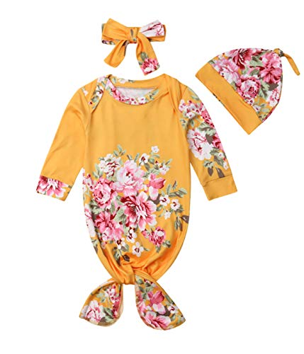 (Newborn Baby Girl Floral Gown with Headband Hat Infant Sleepy Romper Sleeping Bag (Yellow, 3-6 Months))