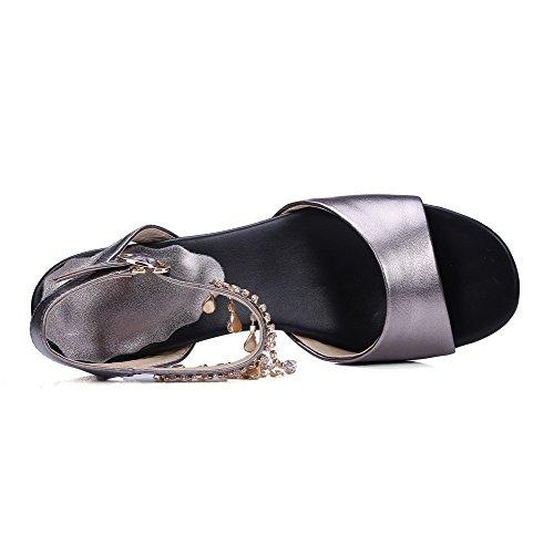 Heels Sandals AmoonyFashion Open Toe Buckle Kitten Gray Solid Womens Oxhide xxwg0qpH