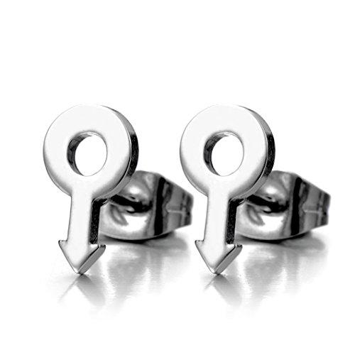 Symbole Masculin Signe Garçon - Boucles d'oreilles pour les Homme - Clous d'oreille - Acier Inoxydable - 1 Paire