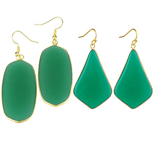 (SUNYIK Women's Green Crystal Dangle Earrings, Oval/Rhombus,Pack of 2)