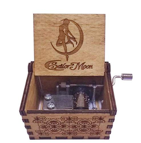 su ma Antique Carved Sailor Moon Hand Cranking Wood Music Box for Soft Furnishings, Craft, Toy, Gift ggo