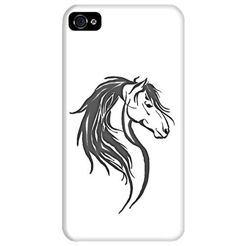 Coque Apple Iphone 4-4s - Tête cheval tribal Grise