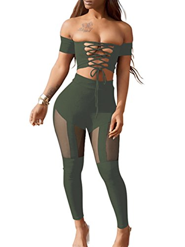 Lyheller Women's Sexy Criss Cross High Waist Bandage 2PCS Clubwear Party Jumpsuit (Large, Army - Sexy Clubwear Clothing Sexy