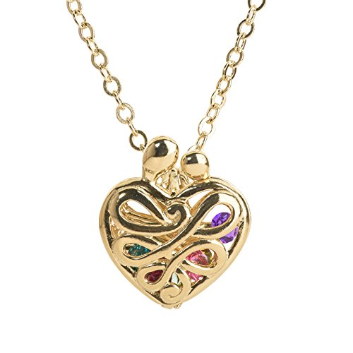 Loving Family Yellow Gold Plated Sterling Silver Large Heart Locket with 12 Birthstones by Loving Family