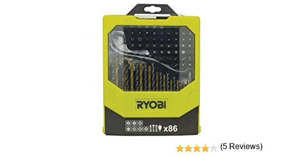 Ryobi RAK86MIX - Juego de brocas para taladro y puntas para destornillador (86 piezas, incluye caja plegable)
