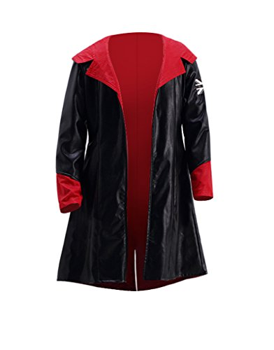 Dazcos Leather Devil May Cry Dante Cosplay Costume Hoodie Coat Jacket (Men (Dante Devil May Cry Cosplay Costume)