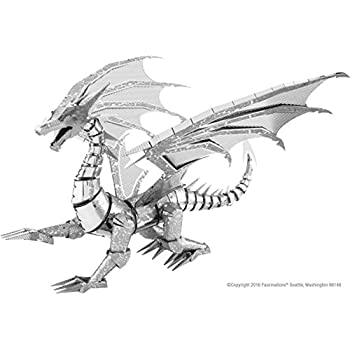 Fascinations Metal Earth Iconx Silver Dragon 3D Metal Toy Model Kit - 3 Sheets, 125 Pieces - with Instruction Guide and Tweezers