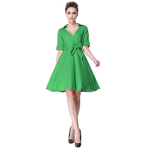 Pin Up Dresses For Sale (Heroecol Vintage 1950s 50s Dress Style Retro Rockabiily Cocktail V Neck XXL GR)