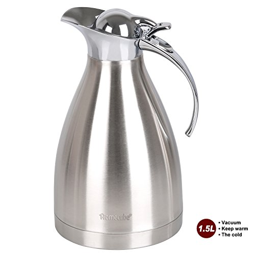 Thermal Carafe, Homecube 51 Oz Big Capacity Coffee Carafe Double-Wall Vacuum Insulated Stainless Steel Coffee Pot ,Jug Flask,Tea Pot Water Pitcher with Press Button (Nissan Beverage Container compare prices)