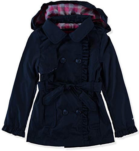 Ruffled Plaid Jacket - London Fog Girls' Lightweight Trench Coat (14/16, Navy/Plaid)