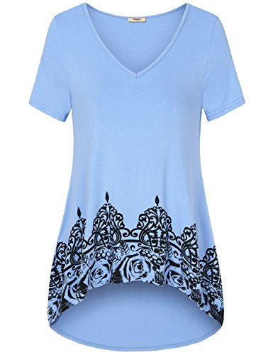 Timeson Hi Low Tops, Women's Floral Print Casual Tunics Short Sleeve V-Neck Basic Loose Fitting Comfy With Leggings Tunic Shirts Cerulean Medium