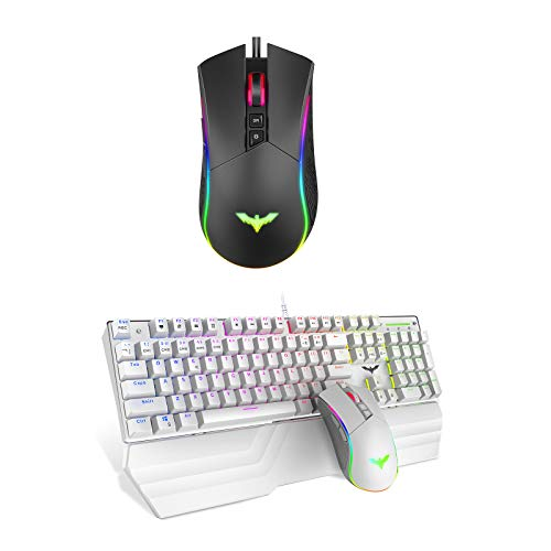Havit RGB Gaming Mouse Wired Programmable Ergonomic USB Mice & Mechanical RGB Gaming Keyboard Mouse Combo