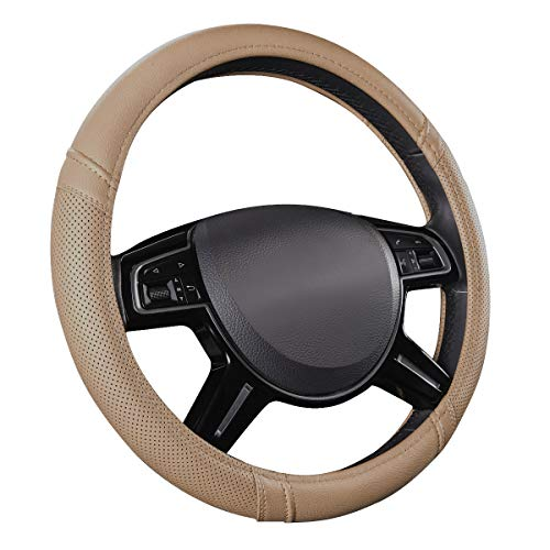 (CAR PASS Classical Leather Automotive Universal Steering Wheel Covers,Universal Fit for Suvs,Trucks,Sedans,Cars,Vans(Beige))