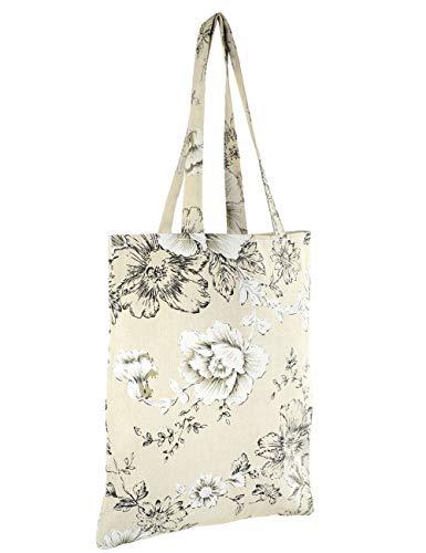 zipper Cotton No Bag Zipper Flowers Pure girl Canvas Tote POPUCT no fa0q7