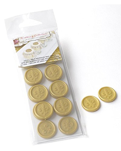 FLEUR DE LIS GOLD SELF-ADHESIVE FAUX WAX SEALS