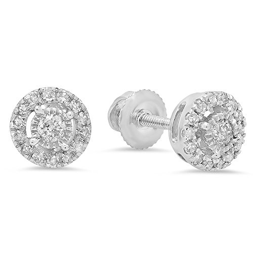 - Dazzlingrock Collection 0.20 Carat (ctw) 10K Round White Diamond Ladies Cluster Style Stud Earrings 1/5 CT, White Gold