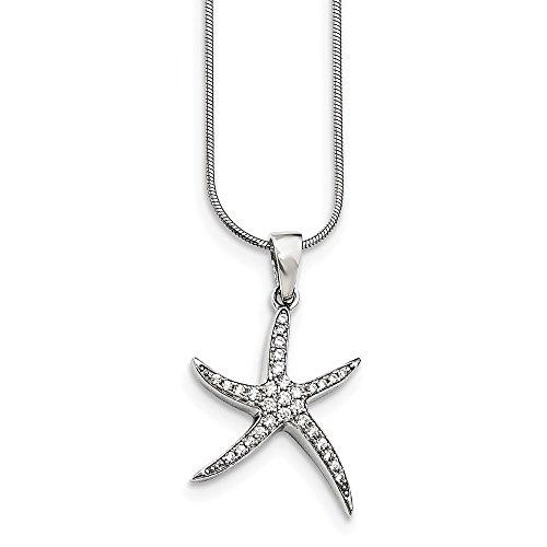 925 Sterling Silver Cubic Zirconia Cz Starfish Chain Necklace Pendant Charm Sea Life Fine Jewelry Gifts For Women For - Charm Zirconia Cubic Starfish