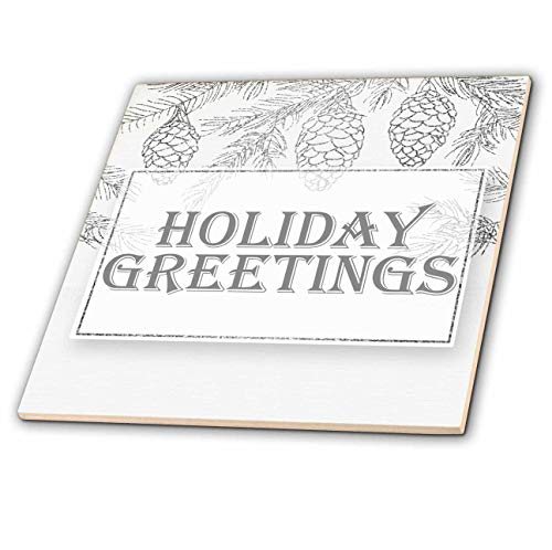 Glass Collection Tile Images - 3dRose Doreen Erhardt Christmas Collection - Image of Silver Pines Holiday Greetings Botanical Christmas - 6 Inch Glass Tile (ct_298752_6)