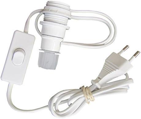 Tibelec 859110 Lampenfassung für Flaschen, E14, mit Schalter und Stecker, Weiß