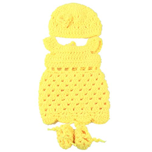 (AMOFINY Crocheted Suit 10-11 Inch Reborn Doll Accessories Simulation Baby Clothes American Doll Clothesfashion Yarn Dress Lace Dress Outfits Set for American Doll Girl's Toy (12 Inch))