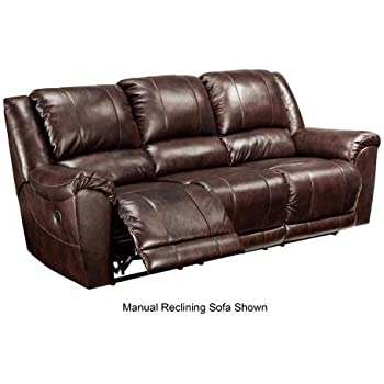 Ashley Furniture Signature Design   Yancy Reclining Sofa   Power Recliner    Contemporary Style   Walnut