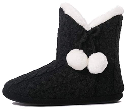 Airee Fairee Slippers Booties for Women Ladies Girls Slipper Boot Bootie Faux Fur Lined with Pom Poms (Small US 5-6, Black)
