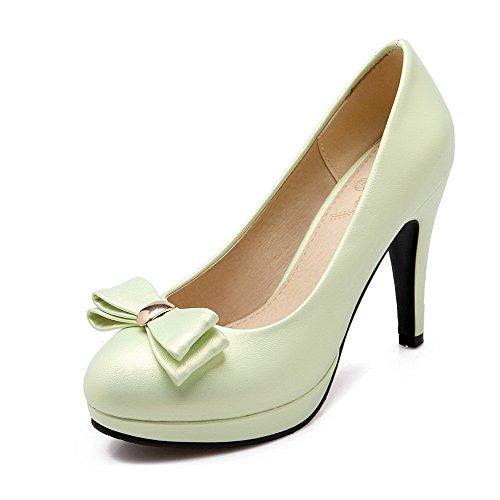 AllhqFashion Damen Rund Zehe Hoher Absatz Weiches Material Eingelegt Ziehen auf Pumps Schuhe Grün