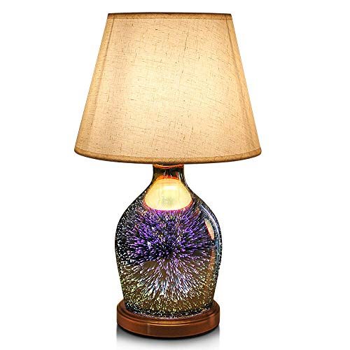 (Table Lamp,Desk Lamp with Bulb Included - Modern Lamp with Unique Lampshade,Handmade 3D Effect Glass Base - Perfect for Table in Bedroom,Bedside,Living Room,Office (Table Lamp Vase))