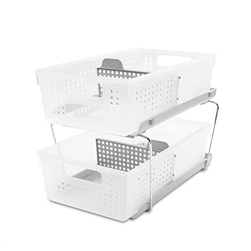 madesmart Large 2-Tier Organizer with Dividers - Frost, Grey | BATH COLLECTION | Slide-out Baskets with Handles | Space Saving | Multi-purpose Storage | BPA-Free