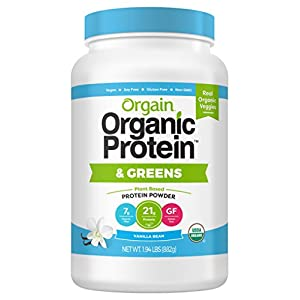 Orgain Organic Protein & Greens Plant Based Protein Powder, Vanilla Bean, Vegan, Gluten Free, Non GMO, 1.94 Pound, 1 Count, Packaging May Vary