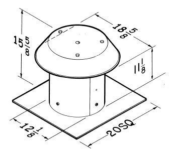 Broan 612CM Roof Cap For Flat Roof Aluminum Up to 12
